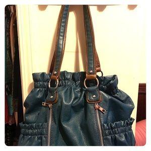 Handbags - Designer purse Teal w/brown straps